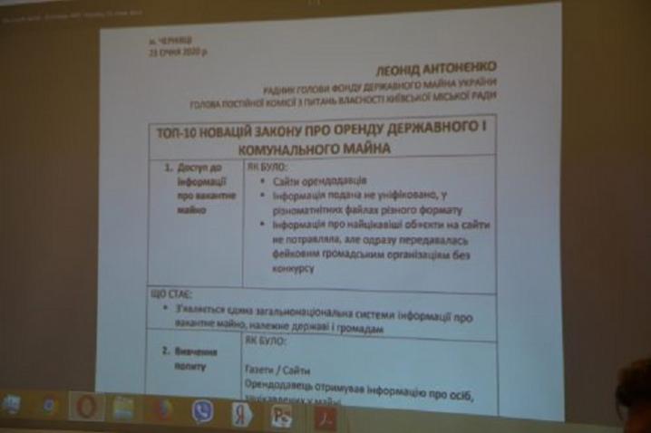 У Чернівцях з 1 лютого система оренди державного та комунального майна запрацює по–новому