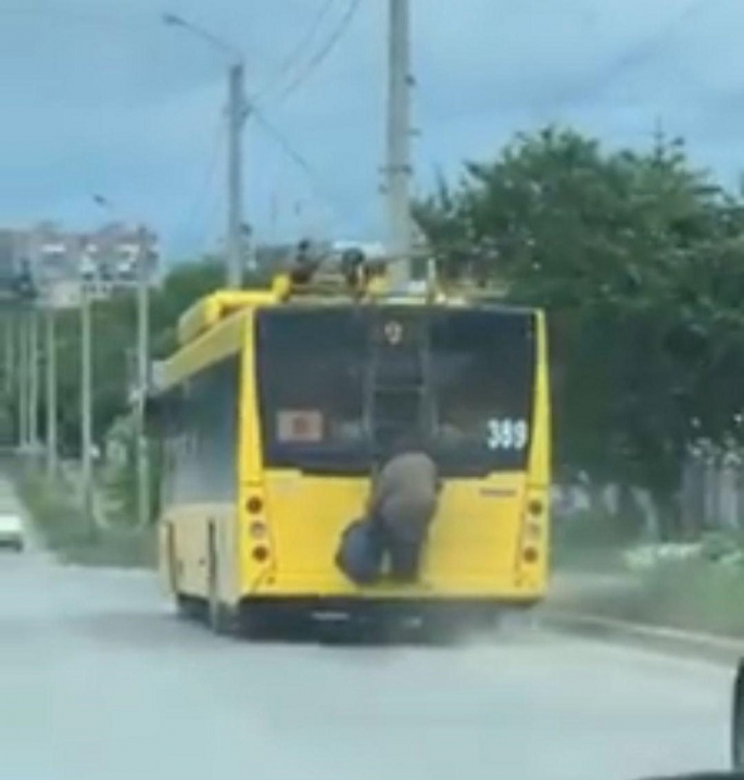 У Чернівцях пенсіонерка їхала причепившись ззаду за тролейбус