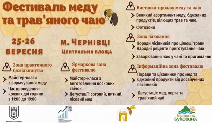 У Чернівцях відбудеться перший Фестиваль мед та трав'яного чаю